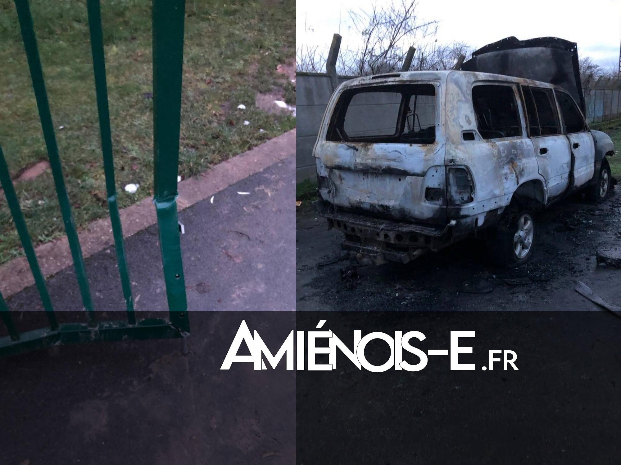 Grille fracturée et voiture brûlée aux jardins des Granges à Amiens Nord